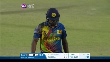 Chamara Kapugedera Wicket Fall SL V SA Video ICC WT20 2016