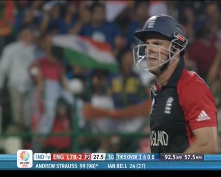 India and England tie in the ICC Cricket World Cup 2011, scoring 338
