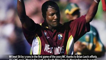 West Indies beat South Africa by 3 runs in the first game of the 2003 World Cup thanks to Brian Lara's efforts