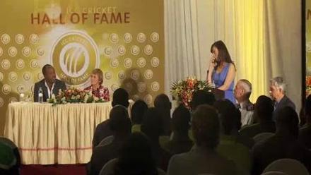 Brian Lara reacts to being inducted into the ICC Cricket Hall of Fame