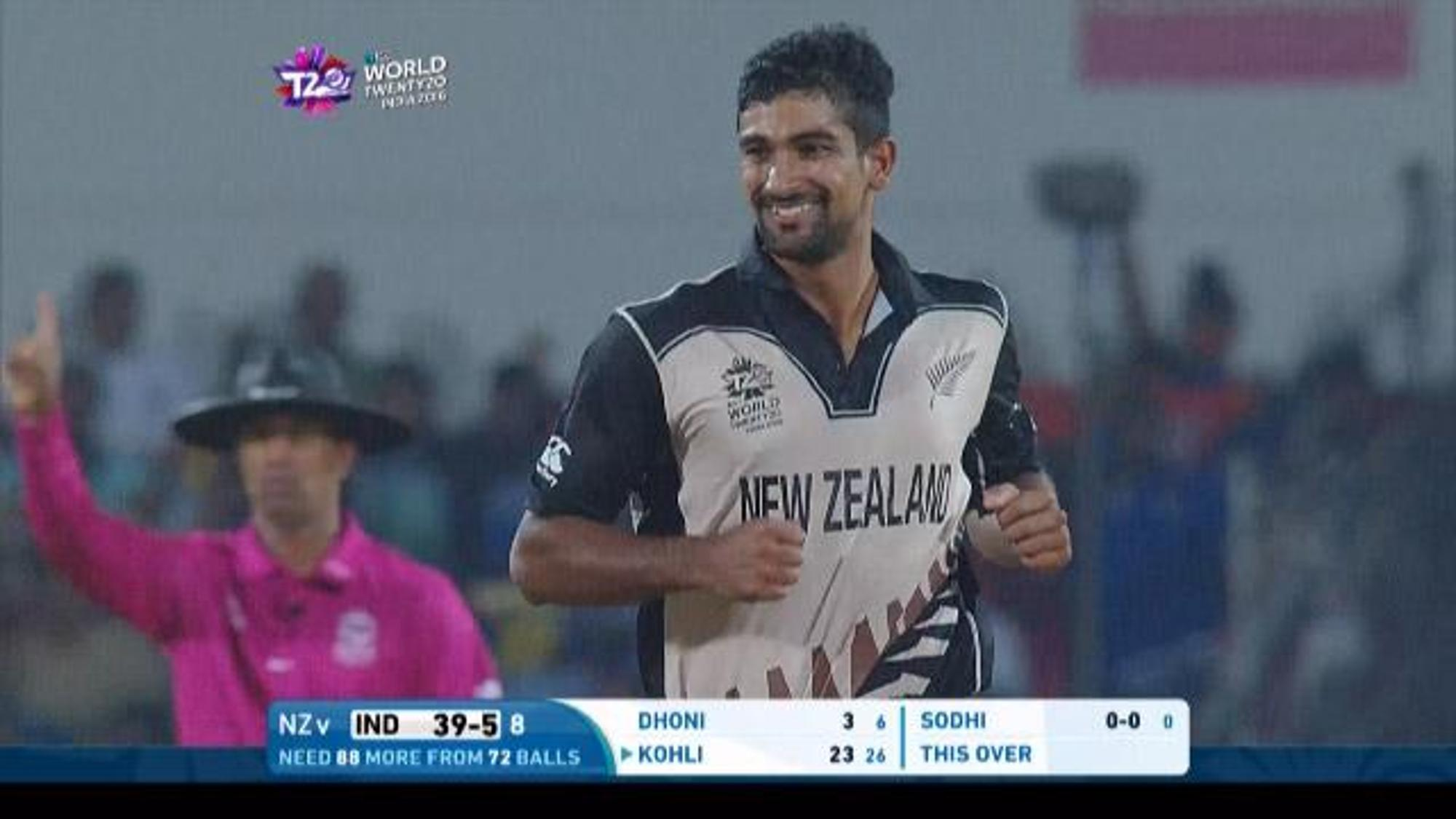Ish Sodhi Match Hero for New Zealand v IND ICC WT20 2016