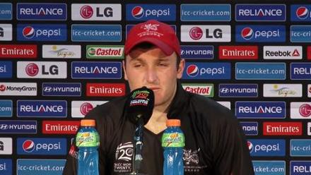 Hong Kong's Jamie Atkinson speaks before Bangladesh match