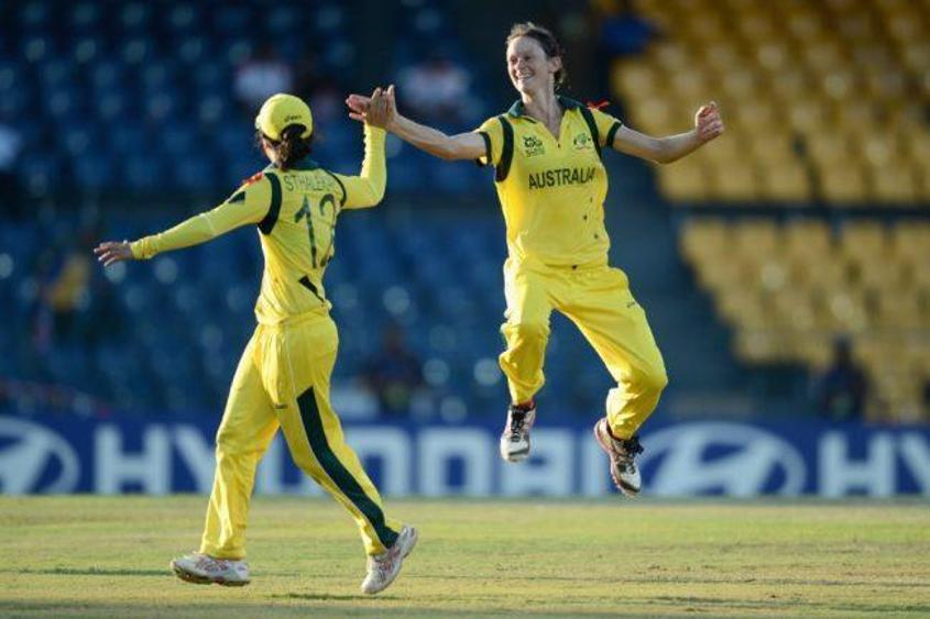 Julie Hunter celebrates during Australia's semi-final defeat of the West Indies
