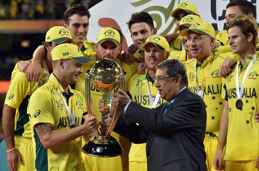 Australia lifting the ICC Cricket World Cup trophy in 2015.