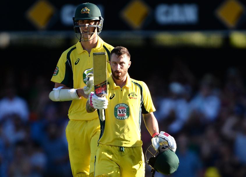Matthew Wade celebrates his ODI century against Pakistan in Brisbane