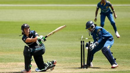 Suzie Bates of New Zealand is bowled