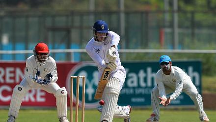 Namibia batsman Gerhard Erasmus plays a shot during the ICC Intercontinental Cup
