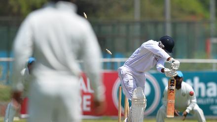 Namibia batsman Zhivago Groenewald gets bowled by Dawlat Zadran