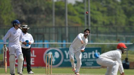 Afghanistan bowler Samiullah Shenwari bowls during the ICC Intercontinental Cup