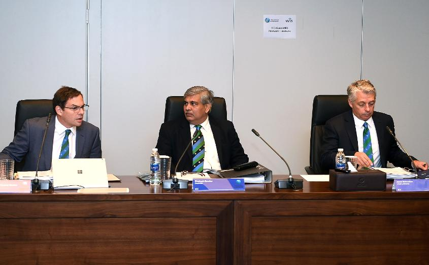 ICC Chairman Shashank Manohar with ICC Chief Executive David Richardson during the ICC Board Meeting