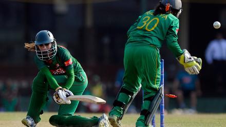 Jahanara Alam was bowled to become Sana Mir's 100th ODI victim.