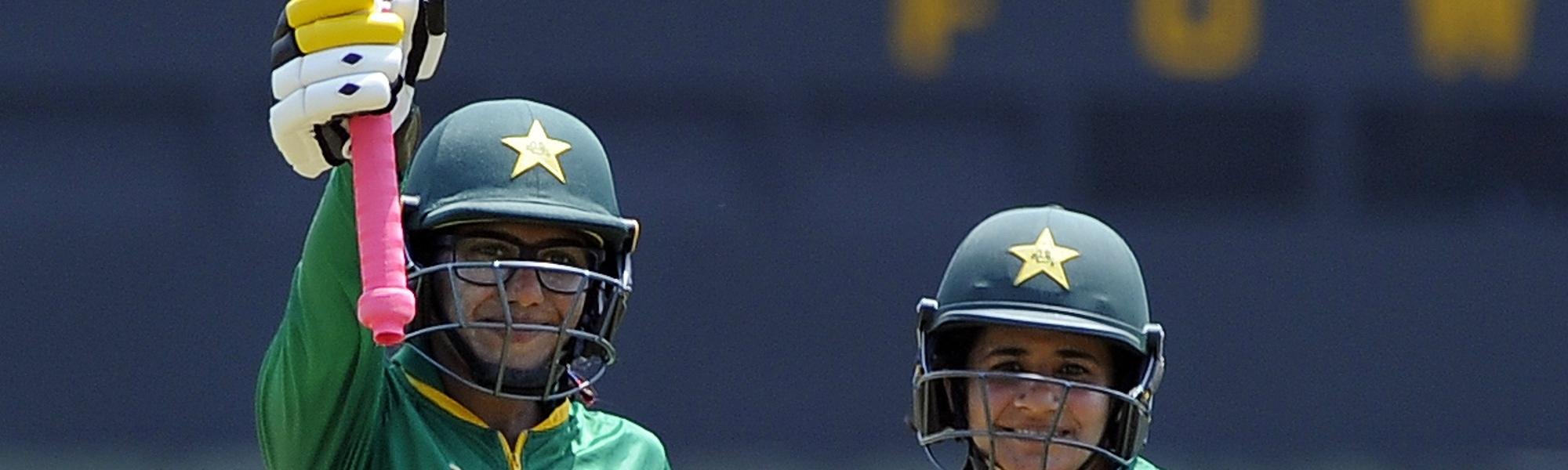 Ayesha Zafar and Javeria Khan brought up hundreds as Pakistan piled on a commanding total of 276 for 5 in its ICC Women's World Cup Qualifier match