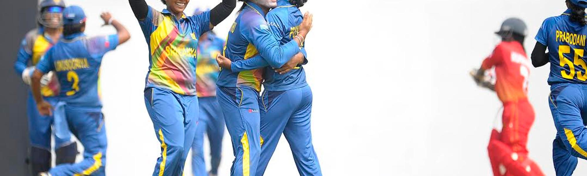 Srilanka's Chamari Polgampola celebrates after taking the wicket of Zimbabwes Modester Mupachikwa in their Group A match in the ICC Womens World Cup Qualifiers, Colombo Sri Lanka. 11th February