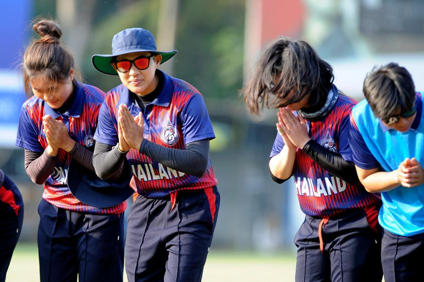 After every match, Thailand Women's team walk up to the sightscreen and with folded hands bow down together as a mark of respect to the ground.