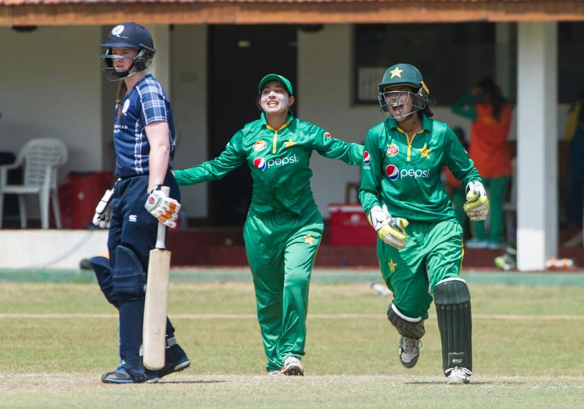 A five-wicket haul from Sana Mir, helped Pakistan finish its group B commitments in the ICC Women's World Cup Qualifier 2017 with a six-wicket win over Scotland.