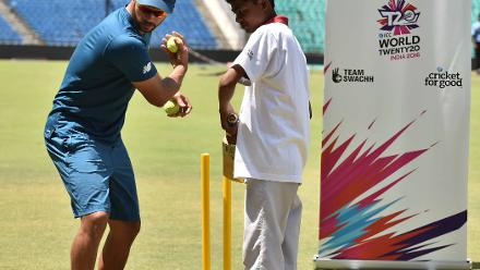 Learning technique at ICC Cricket for Good clinic at WT20 India 2016