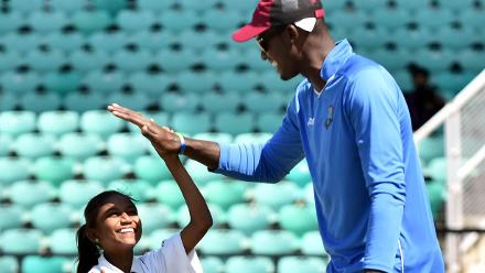 High Fives during West Indies Cricket for Good clinic