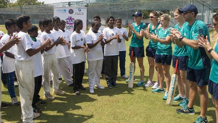 Clean hands at the England Womens Cricket for Good clinic during WT20