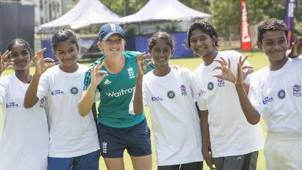 Happy smiles during England Womens Cricket for Good clinic