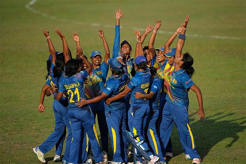 Sri Lanka Women celebrating their win over Pakistan Women