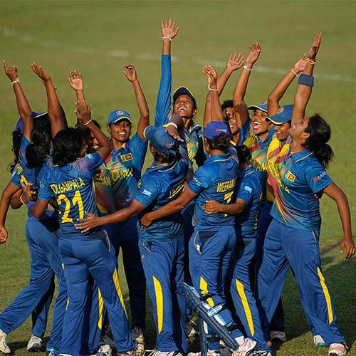 Sri Lanka Women celebrating their win over Pakistan Women in the Women's World Cup Qualifier