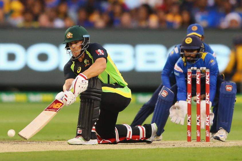 Aaron Finch plays a shot during his innings