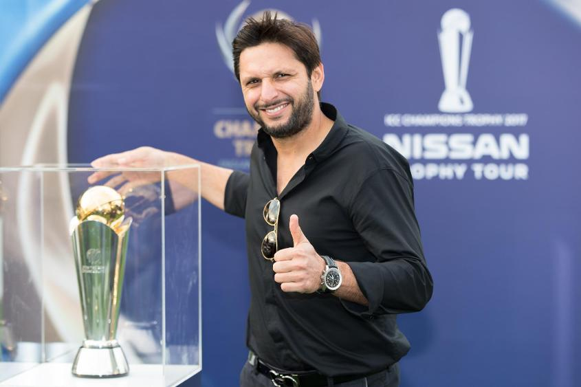Shahid Afridi at ICC Champions Trophy 2017 Nissan Trophy Tour launch