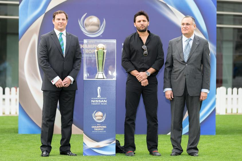 Shahid Afridi was on hand in Dubai to help launch the ICC Champions Trophy 2017 Nissan trophy tour