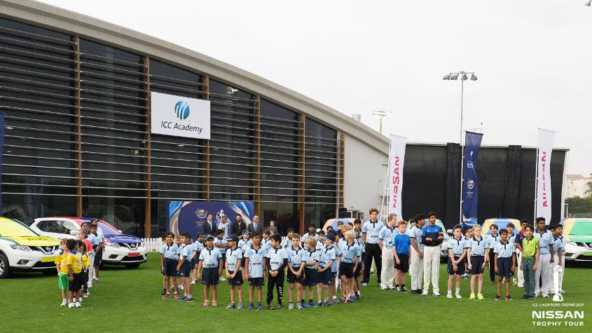 School kids attend the unveiling of the ICC Champions Trophy in Dubai