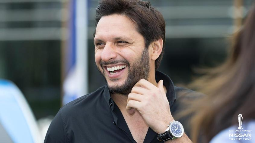 Shahid Afridi gets ready to unveil the ICC Champions Trophy