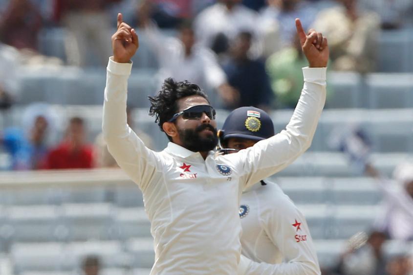 Ravindra Jadeja celebrates the wicket