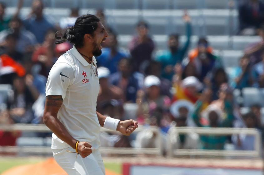 Ishant Sharma celebrates the wicket of Matt Renshaw