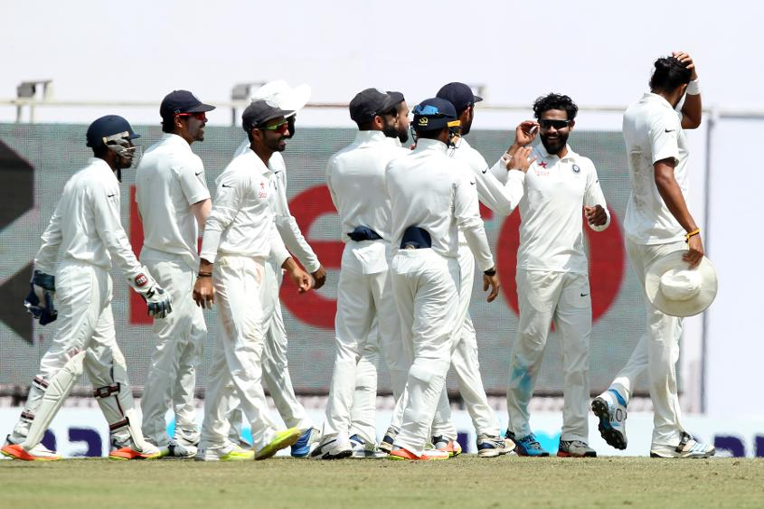 Ravindra Jadeja of India celebrates wicket of Steven Smith