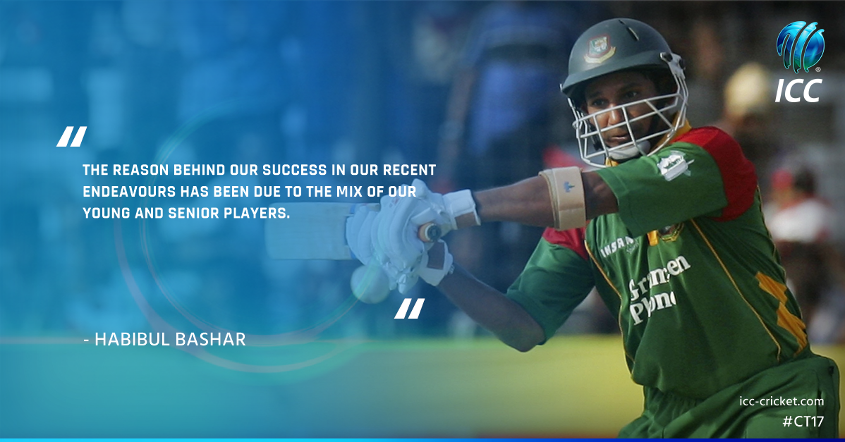 The reason behind our success has been due to the mix of our young and senior players, said Habibul Bashar
