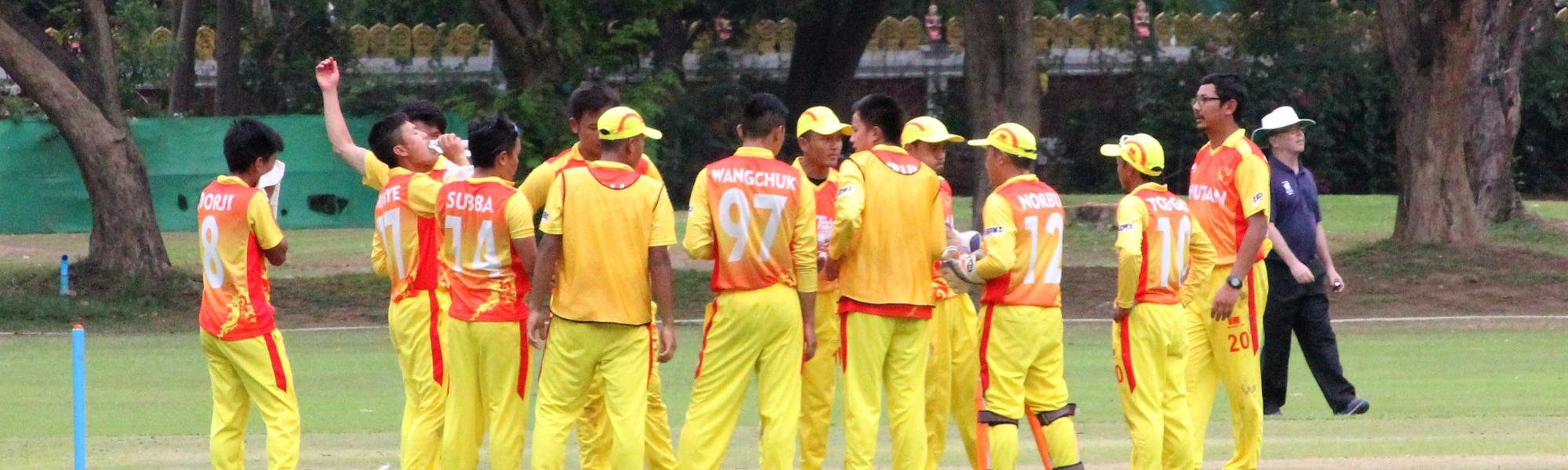 Teams during the warm-up matches of the World Cricket League Asia Qualifier