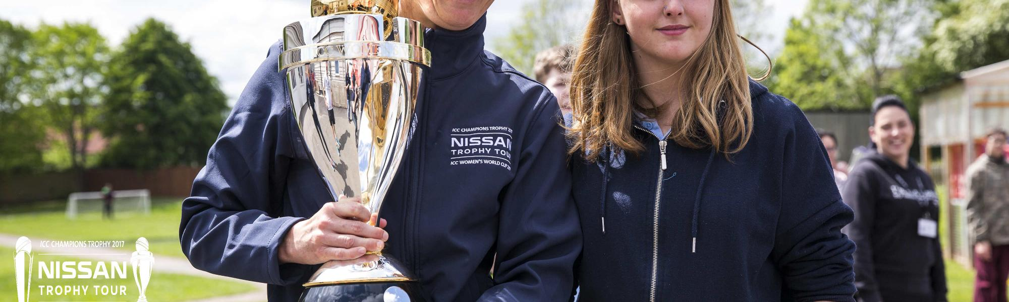 Charlotte Edwards, the former English captain, with the ICC Champions Trophy & ICC Women's World Cup on day one in Taunton during the England leg of the Nissan Trophy Tour.