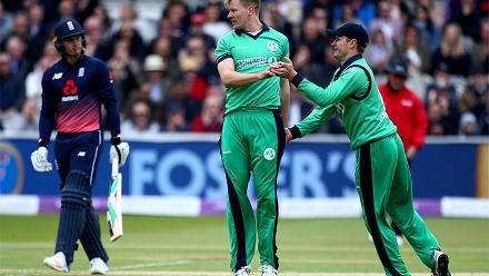 Barry McCarthy finished with 2-61 as England posted 328/6 in 50 overs.