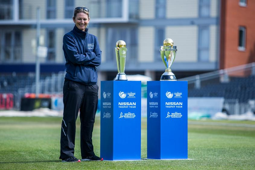 Charlotte Edwards with ICC Women's World Cup Trophy and ICC Champions Trophy