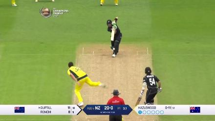 WICKET: Guptill falls to Hazlewood for 26