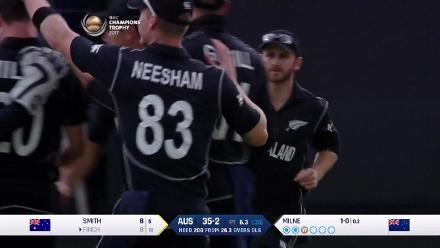 WICKET: Aaron Finch falls early to Milne