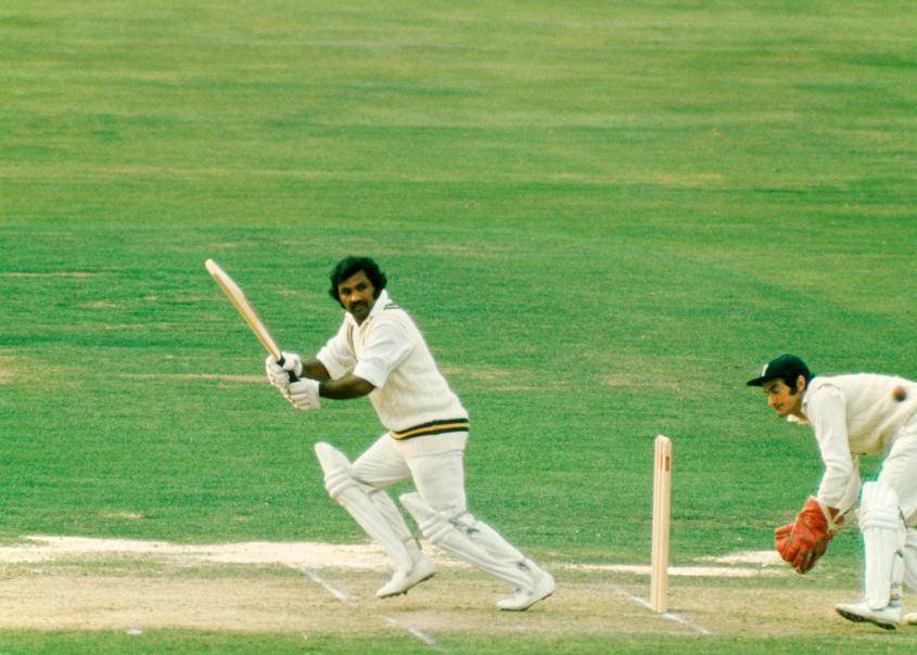 Mushtaq Mohammad batting during a Test match at Lord's, August 1974.
