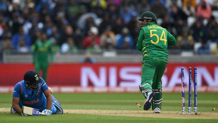 Rohit Sharma is runout by Sarfraz Ahmed for 91