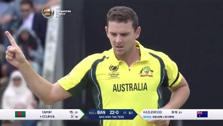 WICKET: Soumya falls to Hazlewood for 3