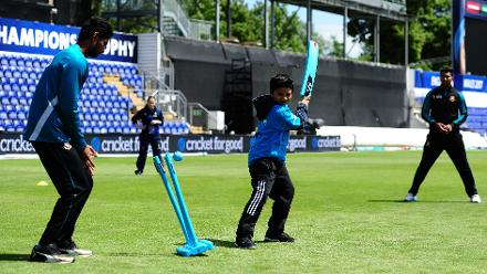 Bangladesh players with young school kids during the ICC Champions Trophy Cricket for Good clinic at Cardiff, Wales.