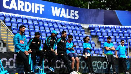 Soumya Sarkar, Mahmudullah, Mehedi Hasan and Sabbir Rahman of Bangladesh with young school kids during the ICC Champions Trophy Cricket for Good clinic at  Cardiff, Wales.
