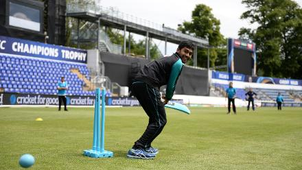 Mehedi Hasan of Bangladesh during the ICC Champions Trophy Cricket for Good clinic at Cardiff, Wales.