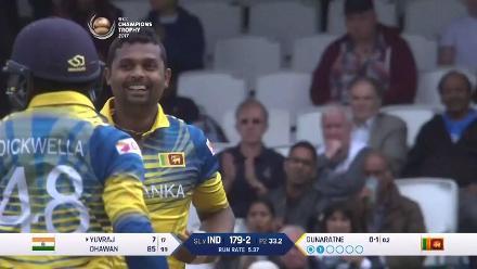 Yuvraj falls to Gunaratne for 7