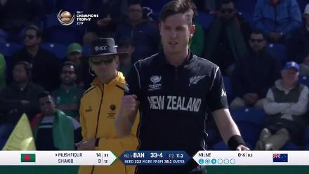 WICKET: Mushfiqur Rahim is dismissed by Adam Milne for 14