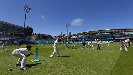 Local children participate in an ICC Cricket For Good coaching session with India at The Oval
