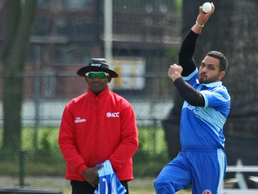 Usman Khan bowling for France at the ICC Europe Division 1 Tournament in Voorburg, The Netherlands
